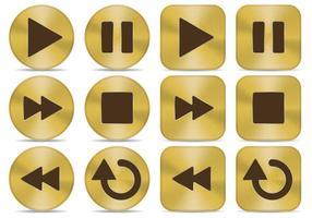 Botões de mídia dourada