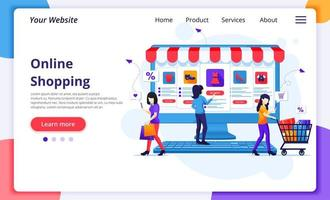 mulheres com produtos compras online landing page vetor