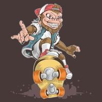 projeto de skate de macaco vetor
