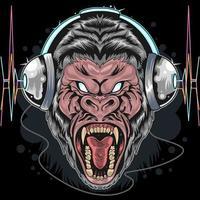 gorila feroz com design de fones de ouvido vetor