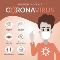 homem no cartaz de prevenção de coronavírus de máscara vetor