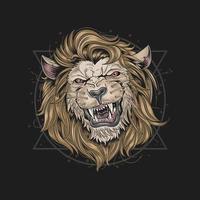 design de cabeça de leão de cara feia vetor