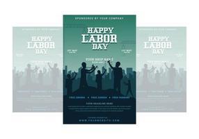 feliz dia do trabalho cartaz com trabalhadores torcendo juntos vetor