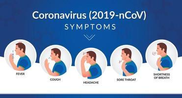 homem com sintomas da faixa de coronavírus vetor