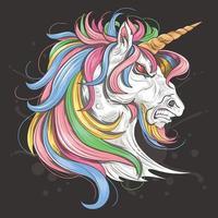 unicórnio com raiva com crina de arco-íris vetor