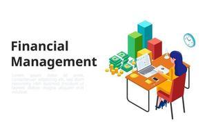 finanças de gestão feminina com laptop