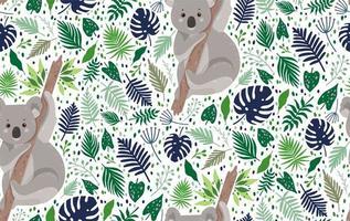 coala fofa, cercada por folhas padrão sem emenda