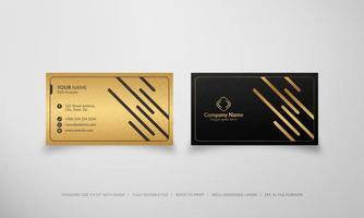 modelo de cartão de visita de luxo preto e dourado vetor