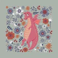 dragão em pé no design de cartão de flores vetor