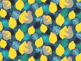 padrão sem emenda com preguiça, limão e folhas tropicais vetor