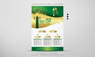 calendário de parede ramadan verde e dourado 2020 vetor