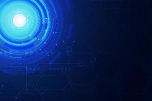 círculos de tecnologia azul sobre fundo escuro do hexágono vetor