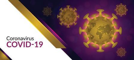 banner de coronavírus roxo e dourado vetor
