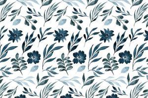 padrão de flores e folhas em estilo aquarela