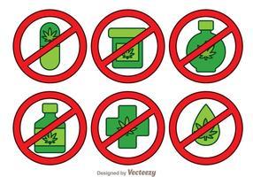 Sem Drogas Ícones Isolados vetor
