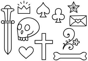 Tatuagem livre da velha escola 2 vetores