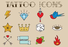 Ícones de tatuagem de estilo antigo vetor