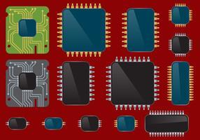 Conjunto Microchips vetor