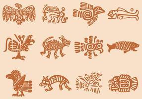 Ícones pré-hispânicos vetor
