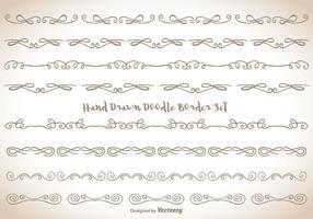 Conjunto desenhado mão da borda do doodle vetor