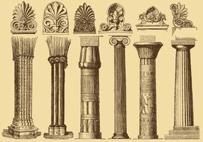 Colunas de desenho de estilo antigo