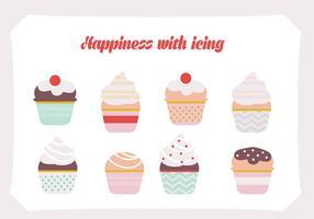 Conjunto livre de fundo do vetor cupcakes