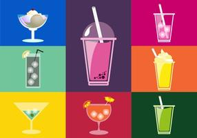 Ilustrações de bebidas Ícones planos vetor
