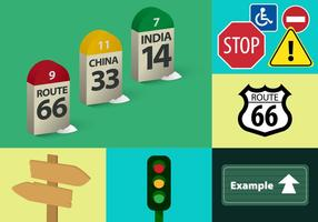 Ilustrações de vetores de sinais de trânsito