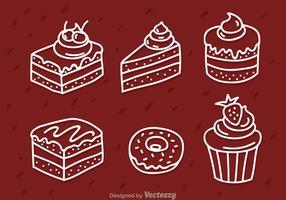 Ícones de esboço branco do bolo vetor