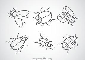 Ícones de desenho de insetos vetor