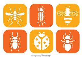 Ícones brancos insetos vetor