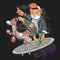 projeto do skate do gato do grunge vetor