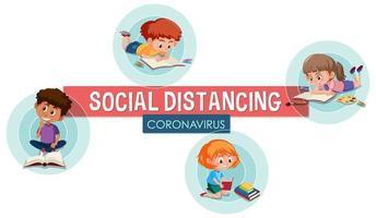 cartaz de distanciamento social com crianças vetor