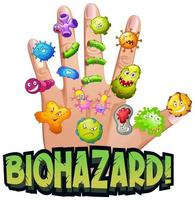risco biológico com vírus na mão humana vetor