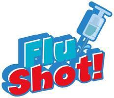 vacina contra a gripe com seringa no fundo branco vetor