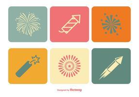 Conjunto de ícones de fogos de artifício vetor
