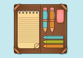 Conjunto de elementos de caixa de lápis vetor