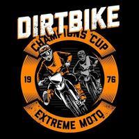 emblema de motocross com pilotos no banner do círculo laranja vetor