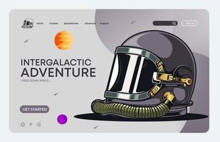 página de destino do capacete espacial