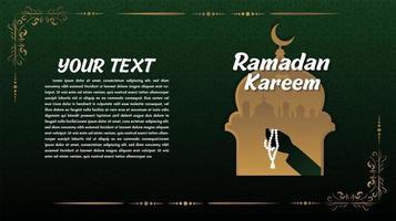 verde e ouro ramadan kareem saudação com mesquita vetor