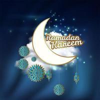 cartão do Ramadã com lua e elementos decorativos