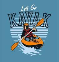 kayaker remando no rio vetor