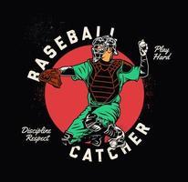 apanhador de beisebol jogando bola vetor