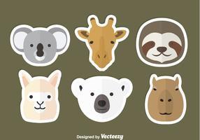 Ícones planos de cabeça de animal