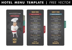 Modelo do menu do hotel Vector grátis