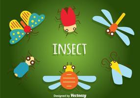 Ícones planos insetos vetor