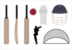 Conjunto de símbolos e objetos de cricket no vetor