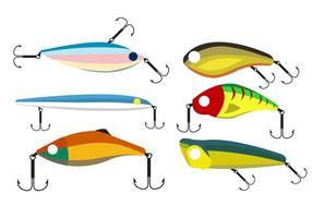Conjunto vetorial de iscas de pesca vetor