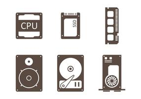 Ícone Minimalista de CPU vetor