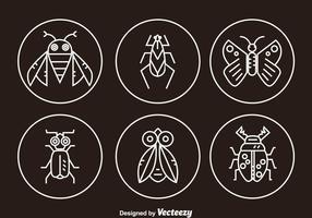 Ícones de linha de insetos vetor